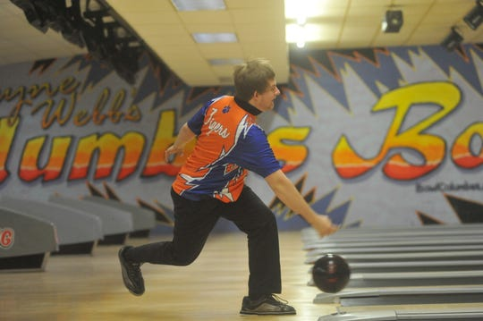Galion's AJ Randolph competes in the state bowling tournament.