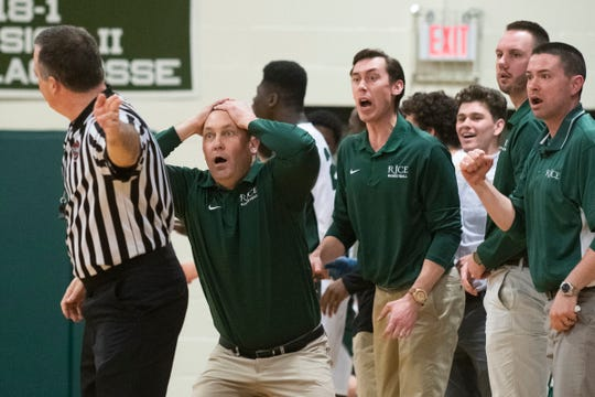 Rice head coach Paul Pecor questions a call during the boys basketball game between the Burlington Seahorses and the Rice Green Knights at Rice Memorial High School on Friday night February 28, 2020 in South Burlington, Vermont.