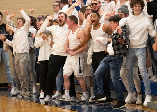 The Chillicothe student section goes crazy after Brandon Noel scores against Marysville. Chillicothe defeated Marysville 62-48 in a Division I sectional final on Feb. 28, 2020, in Chillicothe, Ohio.