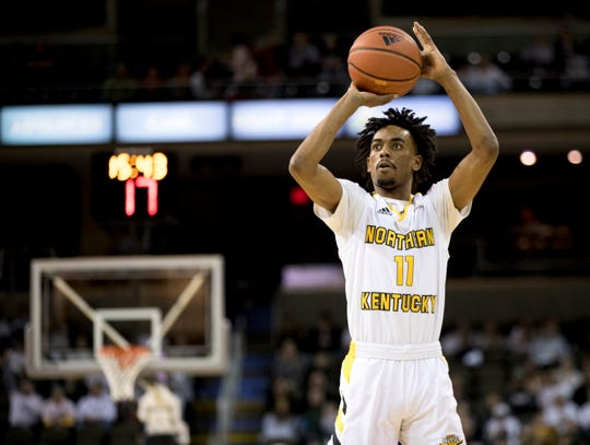 Northern Kentucky Norse guard Jalen Tate (11) shoots a 3-pointer in the first half of the NCAA men's basketball game on Friday, Feb. 28, 2020, at Northern Kentucky University's BB&T Arena in Highland Heights, Ky.