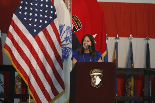 Second lady of the United States Karen Pence addresses a crowd at Fort Campbell on Friday, Feb. 28, 2020.