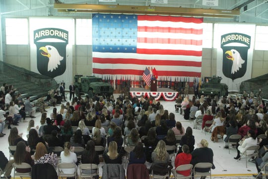 US Second Lady Karen Pence addressed hundreds of attendees at Fort Campbell on Friday, Feb. 28, 2020.