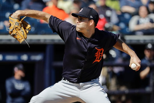 Detroit Tigers starting pitcher Matthew Boyd delivers a pitch during the first inning  against the New York Yankees on Feb. 29, 2020, in Tampa, Fla.
