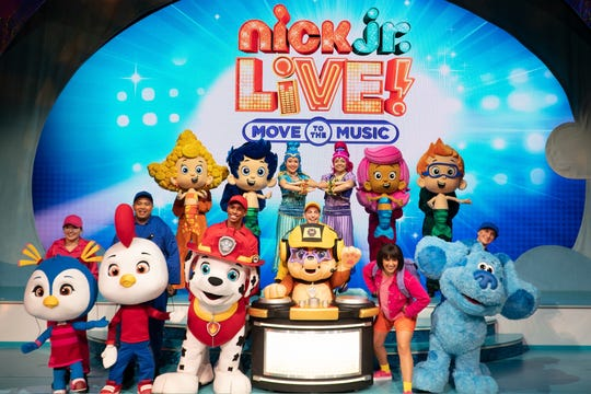 """""""Nick Jr. Live! Move to the Music"""" is a family reunion of sorts of characters from Nick Jr. shows."""