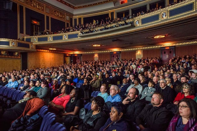 """The Freep Film Festival is coming April 22-26, with films in theaters throughout metro Detroit. Here, patrons watch """"Dare to Struggle, Dare to Win"""" at the Detroit Film Theatre at the DIA last April."""