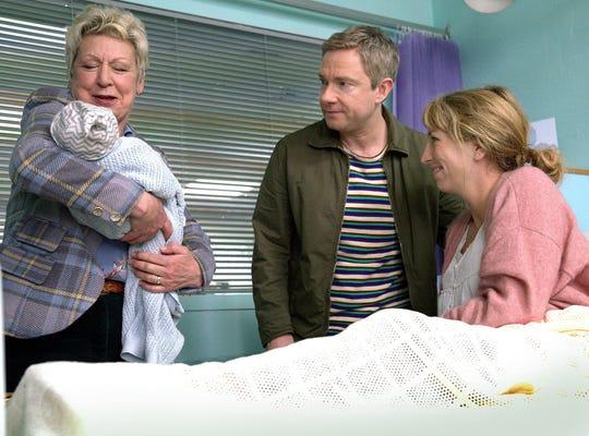 "Joanna Bacon, left, Martin Freeman and Daisy Haggard in ""Breeders."""