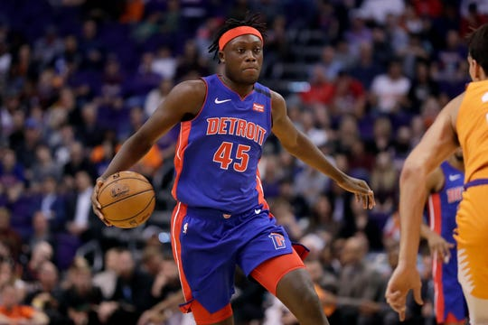 Sekou Doumbouya dribbles against the Suns on Friday in Phoenix.