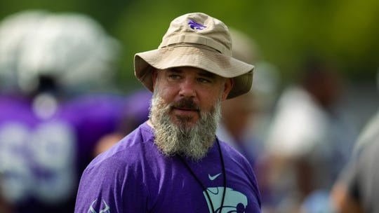 New Michigan State football defensive coordinator Scottie Hazelton at practice last season with Kansas State, where he spent one season.
