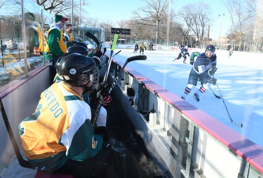 Hockey teammates honor slain St. Clair Shores man at Clark Park
