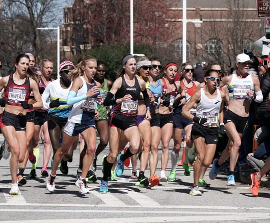 Elmira native Molly Huddle (center) competes in the U.S. Olympic marathon trials Feb. 29, 2020 in Atlanta.