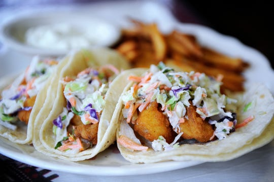 Fish and shrimp tacos from Los Alfaro's.