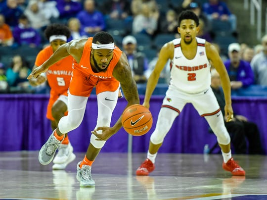 Evansville's John Hall (35) goes after a loose ball as the University of Evansville Purple Aces' last home game of the season against Missouri Valley Conference opponent the Illinois State Redbirds at the Evansville Ford Center Saturday, February 29, 2020.