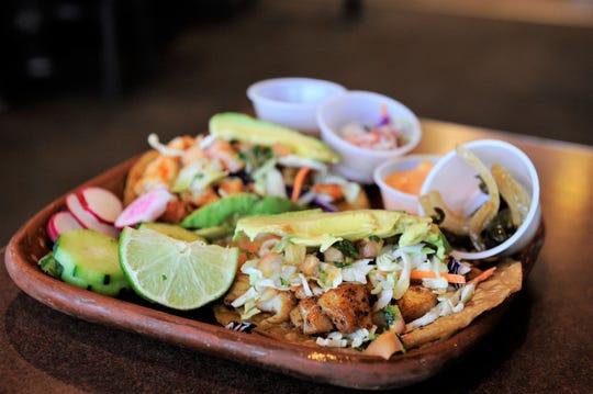 Fish and shrimp tacos from La Campirana.