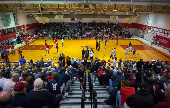 Standing room only inside the Bosse High School gymnasium as the Bosse Bulldogs play the Reitz Panthers Friday evening, Feb. 28, 2020.