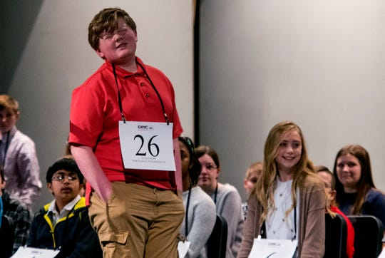 "Elijah Kirk of North Knox Intermediate is knocked out after misspelling ""brilliant"" during the 2020 EVSC Regional Spelling Bee at the Academy of Innovative Studies in Evansville, Ind., Saturday afternoon, Feb. 29, 2020."