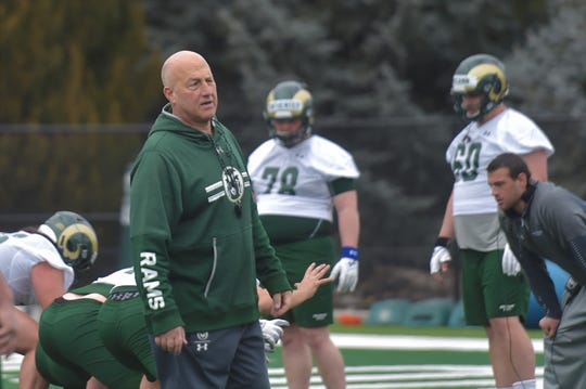 Colorado State football coach Steve Addazio during practice outside Canvas Stadium on Saturday, Feb. 29, 2020.