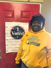 Paige Williams, 37, voted Saturday, Feb. 29, 2020, at the Allendale Community Center.