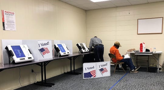 Poll workers wait on Saturday afternoon, Feb. 29, 2020, for voters at the Smith Hazel Recreation Center in Aiken.