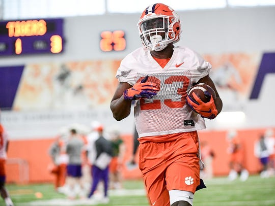 Clemson running back Lyn-J Dixon (23) is the most experienced member of Clemson's projected 2021 running back corps.