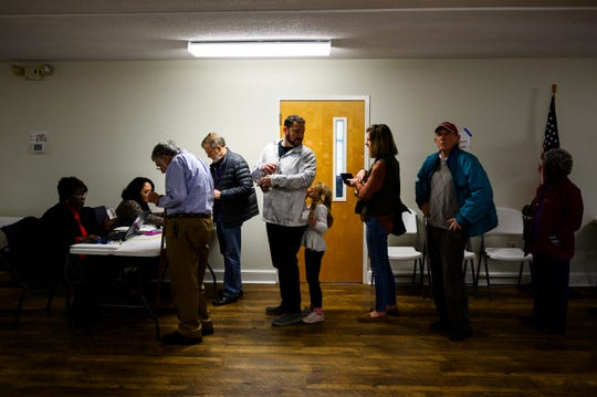 Voters wait in line at Northbridge Baptist Church the day of the South Carolina democratic primary Saturday, Feb. 29, 2020.