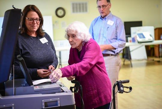 Barbara McClellan votes inside the Anderson 6/2 precinct at Trinity United Methodist Church in Anderson during the South Carolina democratic primary for U.S. President Saturday, February 29, 2020.