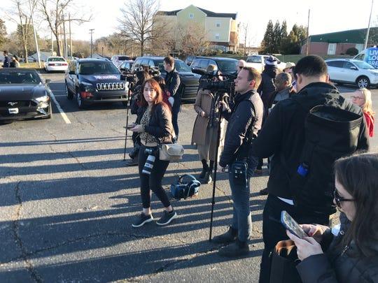Media waits outside Phillis Wheatley Center in Greenville for Democratic Presidential candidate Joe Biden's appearance. Saturday, Feb. 29, 2020.