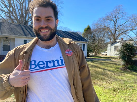 On Saturday, Feb. 29, 2020, Bernie Sanders canvasser Stephen Wolcott, 27, of Atlanta made a stop at Lebanon and Maxwell streets in Pendleton.