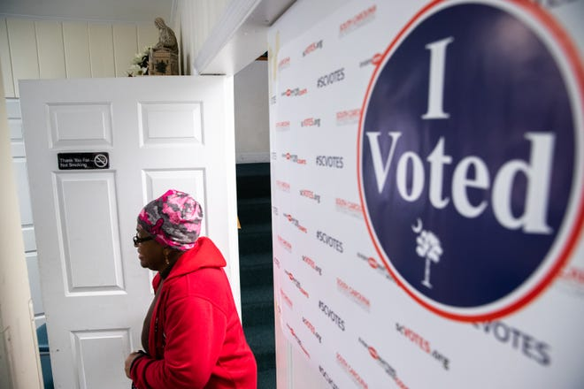 Joyce Walker arrives to cast her ballot in the South Carolina Democratic primary in Aiken on Feb. 29.