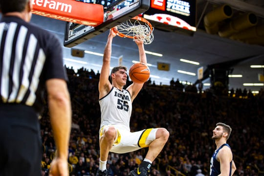 Iowa center Luka Garza dunked on Penn State in a Feb. 29 home win the way he dunked on the entire Big Ten Conference this season. On Monday, the junior picked up the league's player of the year award for his efforts.