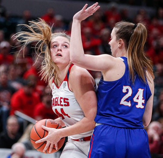 Frankton Eagles Chloee Thomas (44) attempts a layup against Linton-Stockton Miners Aliyah Thomas (24) during the IHSAA Class 2A Girls Basketball State Championship at Bankers Life Fieldhouse, Indianapolis, Saturday, Feb., 29, 2020. Linton-Stockton Miners defeated the Frankton Eagles, 70-28.