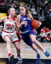 Linton-Stockton Miners Aubrey Burgess rushes up court against Frankton Eagles Baliee Webb during the IHSAA Class 2A Girls Basketball State Championship at Bankers Life Fieldhouse, Indianapolis, Saturday, Feb., 29, 2020. Linton-Stockton Miners defeated the Frankton Eagles, 70-28.