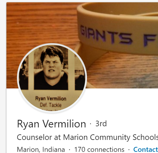 A screenshot of Ryan Vermilion's LinkedIn page shows his photo as a young defensive tackle.