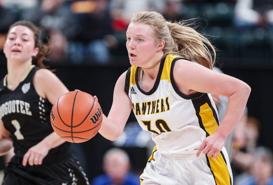 Pioneer Panthers Hailey Cripe runs up court during the IHSAA Class A Girls Basketball State at Bankers Life Fieldhouse, Indianapolis, Saturday, Feb., 29, 2020.