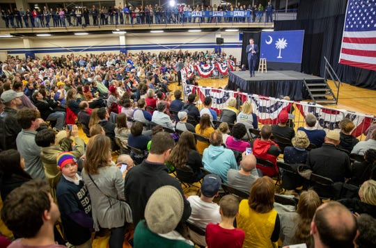 Pete Buttigieg speaks Feb. 28 during a rally in Columbia, S.C., in advance of the state's primary the next day.