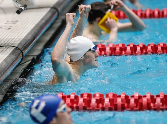 Braden Rollins wins the boys 100 yard freestyle  during the 2020 IHSAA Boys Swimming and Diving Championships held at the IUPUI Natatorium in Indianapolis, Saturday, Feb. 29, 2020.