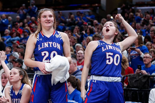Linton-Stockton Miners Vanessa Shafford (20) and Abigail Brownfield (50) cheer on the sidelines during the IHSAA Class 2A Girls Basketball State Championship at Bankers Life Fieldhouse, Indianapolis, Saturday, Feb., 29, 2020. Linton-Stockton Miners defeated the Frankton Eagles, 70-28.