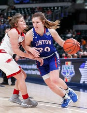 Linton-Stockton Miners Vanessa Shafford (20) dribbles the ball during the IHSAA Class 2A Girls Basketball State Championship at Bankers Life Fieldhouse, Indianapolis, Saturday, Feb., 29, 2020. Linton-Stockton Miners defeated the Frankton Eagles, 70-28.