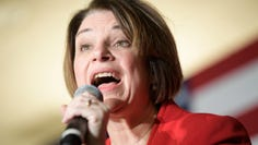 Democratic presidential candidate Amy Klobuchar speaks during a campaign stop at the downtown Hilton in Knoxville, Tennessee on Saturday, February 29, 2020.