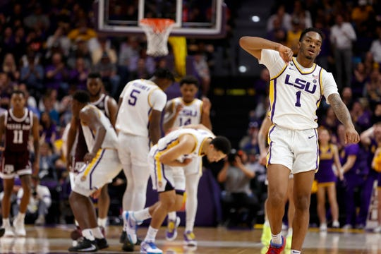 Feb 29, 2020; Baton Rouge, Louisiana, USA; LSU Tigers guard Javonte Smart (1) reacts to a play in the final few seconds of the game against Texas A&M Aggies at Maravich Assembly Center. Mandatory Credit: Stephen Lew-USA TODAY Sports