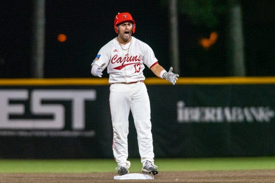 UL's Sebastian Toro celebrates a double against Sam Houston State last Friday night at The Tigue.