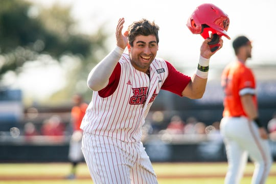 Ragin' Cajuns catcher Sebastian Toro celebrates on third base during a 1-0 win over Sam Houston State last Saturday at The Tigue.