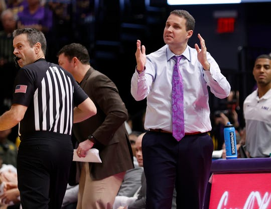 Feb 29, 2020; Baton Rouge, Louisiana, USA; LSU Tigers head coach Will Wade reacts to a play against Texas A&M Aggies in the first half at Maravich Assembly Center. Mandatory Credit: Stephen Lew-USA TODAY Sports