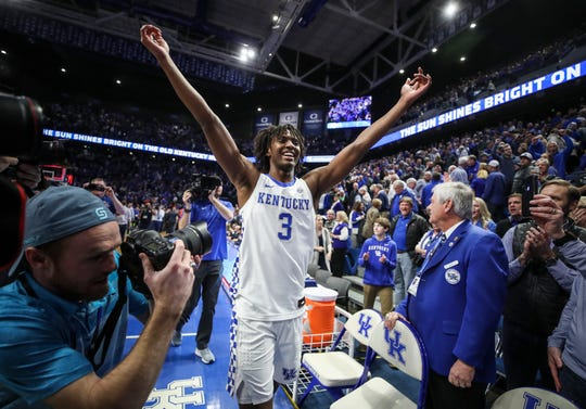Kentucky's Tyrese Maxey celebrates after the Wildcats beat Auburn 73-66 to clinch the 2019-20 SEC title Saturday afternoon at Rupp Arena. Maxey finished with 17 points. Feb. 29, 2020