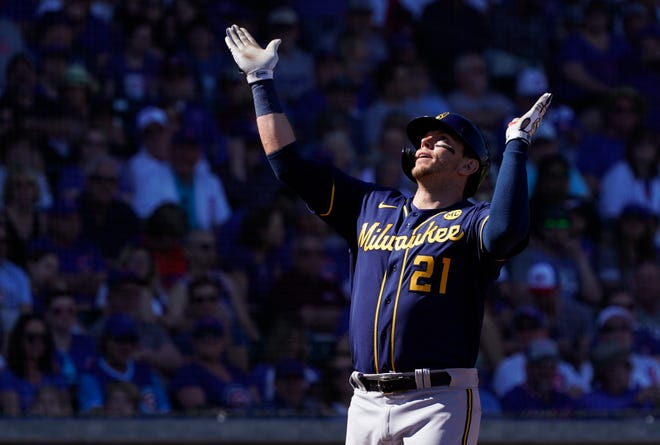 Brewers first baseman Logan Morrison celebrates after hitting a three-run homer against the Cubs during a spring training game at Sloan Park on Saturday.