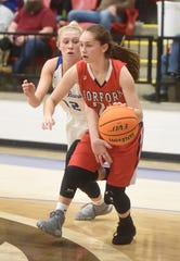 Norfork's Eva Maple drives to the basket against Mammoth Spring's Lauren Mitchell on Friday night at Hillcrest.