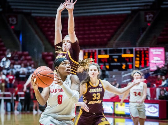 Ball State guard Arbrie Benson competes as BSU faces off against Central Michigan during their game at Worthen Arena on Feb. 29, 2020. Ball State defeated Central Michigan 67-62.