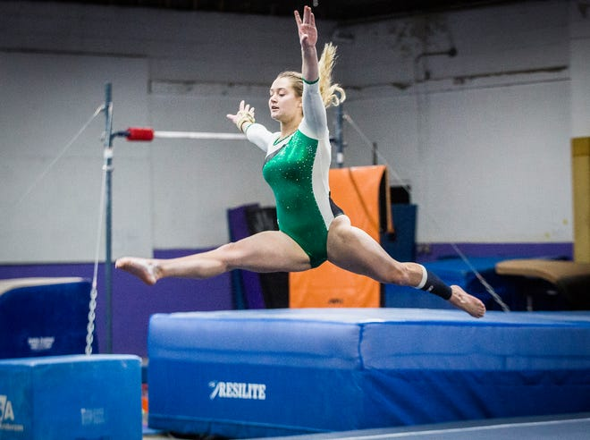 New Castle's Samantha Ward competes at Small Wonders Wednesday, Feb. 26, 2020.