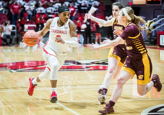 Ball State guard Arbrie Benson slips past Central Michigan's defense during their game at Worthen Arena on Feb. 29, 2020.