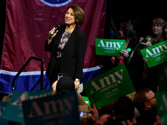 A few hundred gathered on Friday night for a rally with Sen. Amy Klobuchar.