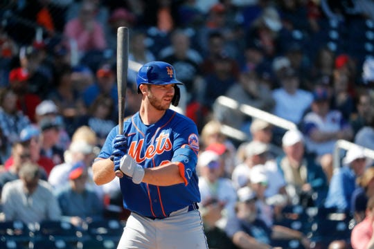New York Mets' Pete Alonso bats during the third inning of a spring training baseball game against the Houston Astros Saturday, Feb. 29, 2020, in West Palm Beach, Fla.